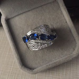 Just in Beautiful blue quartz band cz's SS925 Ring